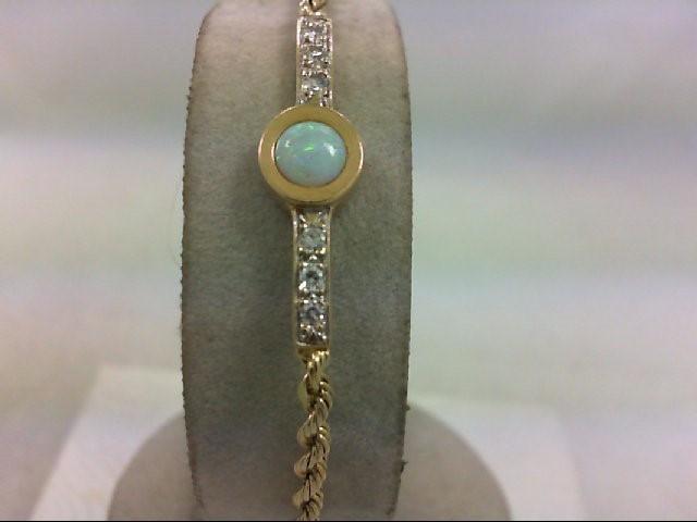 Gold-opal/Diamond Bracelet 6 Diamonds .12 Carat T.W. 14K Yellow Gold 5.4g