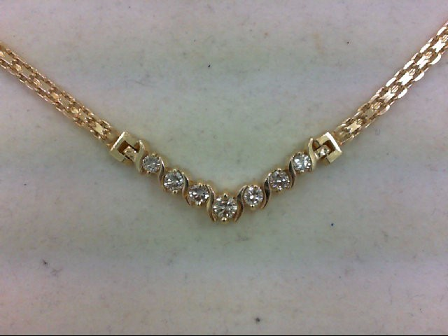 Diamond Necklace 7 Diamonds .40 Carat T.W. 14K Yellow Gold 9.7g