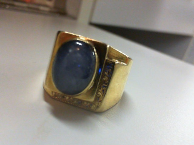 Star Sapphire Gent's Gold Ring 18K Yellow Gold 14.5g