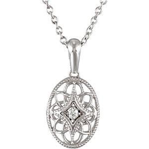 "18"" Diamond Necklace .03 CT. 925 Silver 1.18g"