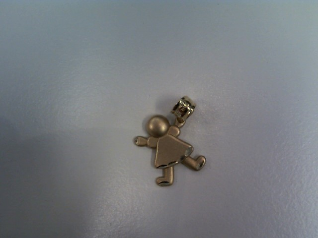 Cute 14K Yellow Gold Child Girl Kid Petite Charm Pendant 0.80 Grams