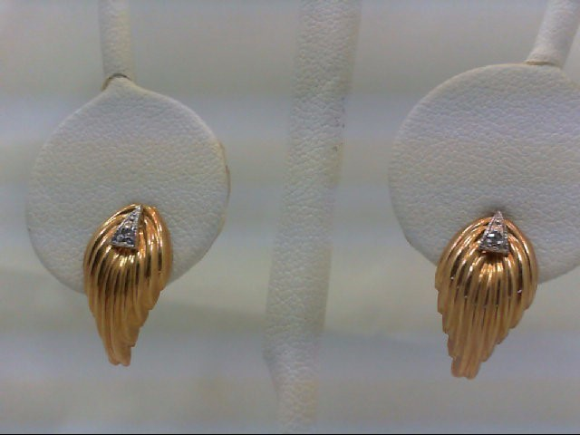 Gold-Diamond Earrings 2 Diamonds 0.02 Carat T.W. 14K Yellow Gold 0.9g