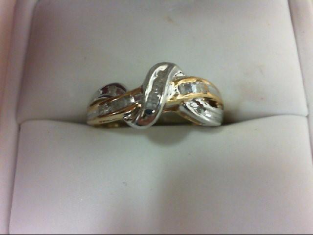 Lady's Diamond Fashion Ring 22 Diamonds 0.22 Carat T.W. 10K 2 Tone Gold 2.4g