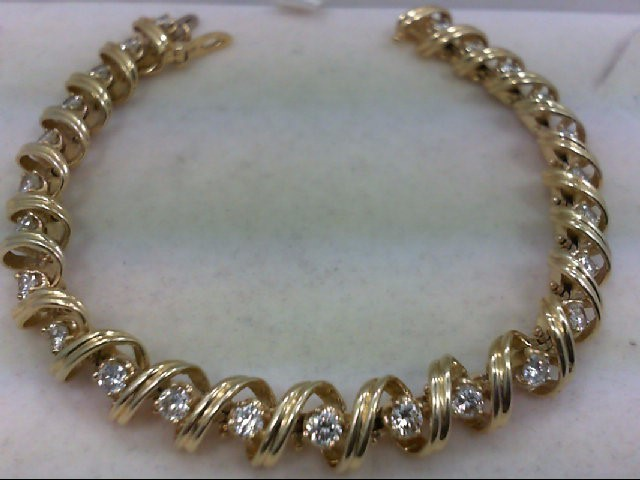 Gold-Diamond Bracelet 25 Diamonds 2.50 Carat T.W. 14K Yellow Gold 23.25g
