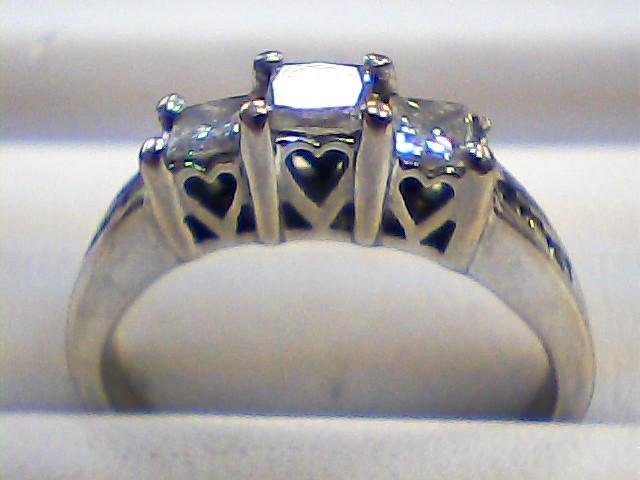 Lady's Diamond Engagement Ring 9 Diamonds .48 Carat T.W. 10K White Gold 2dwt