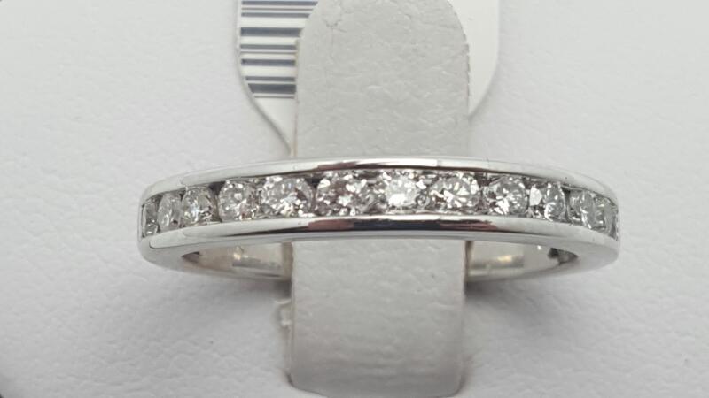 Lady's Gold-Diamond Anniversary Ring 13 Diamonds .52 Carat T.W. 14K White Gold