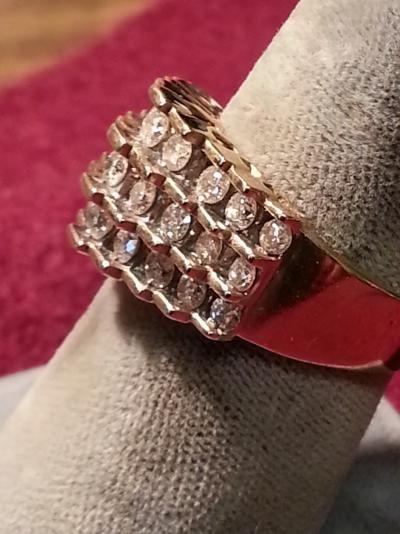 Lady's Diamond Cluster Ring 27 Diamonds 2.16 Carat T.W. 10K Yellow Gold 4.6dwt
