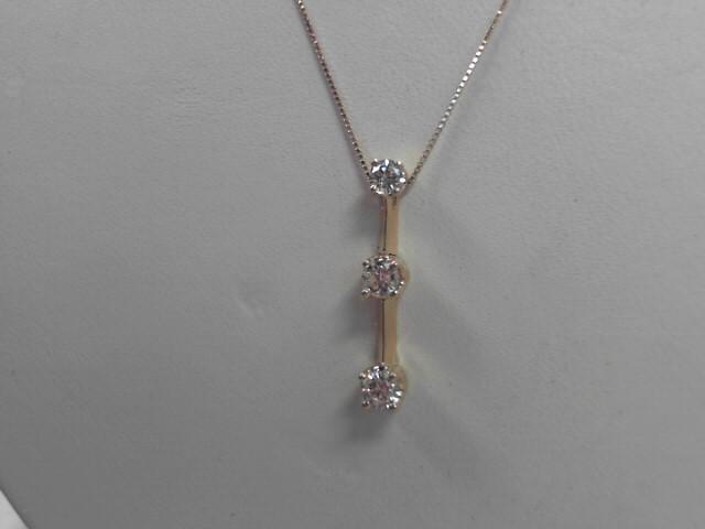 Gold-Multi-Diamond Pendant 3 Diamonds .43 Carat T.W. 14K Yellow Gold 2.48g