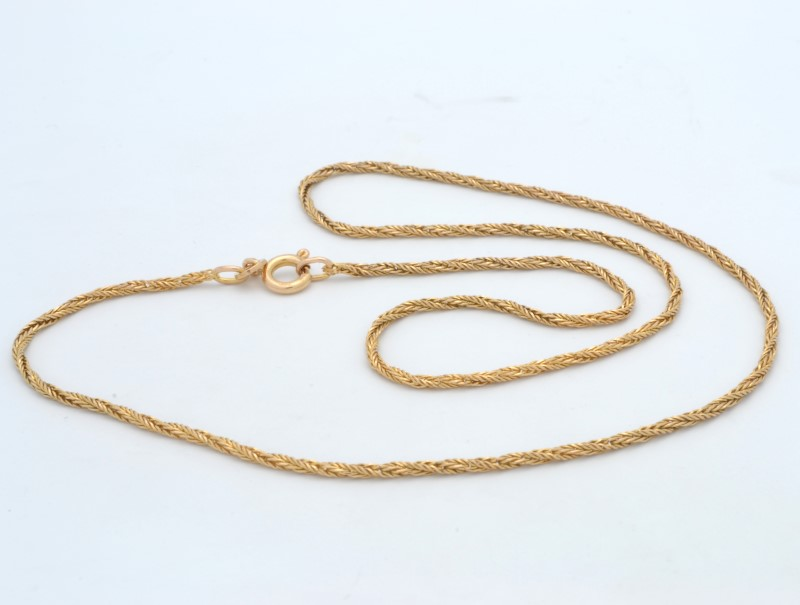 """ESTATE SOLID 14K YELLOW GOLD NECKLACE CHAIN WHEAT TWIST FINE 1MM 16"""""""