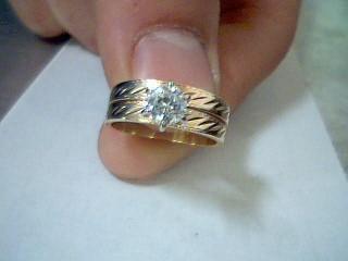 White Stone Lady's Stone Ring 14K Yellow Gold 3.1g Size:4.5