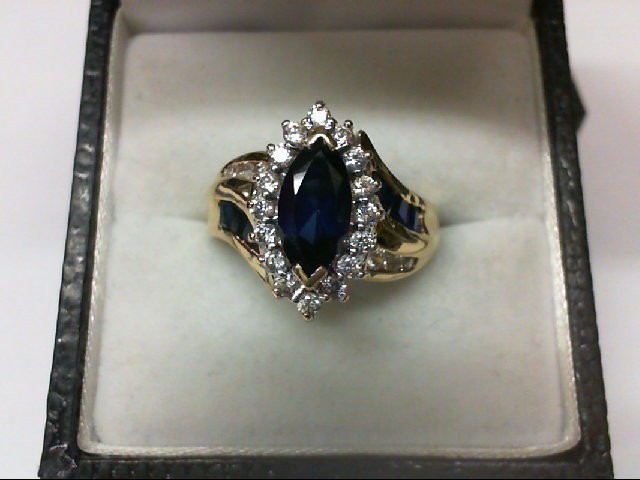 Sapphire Lady's Stone Ring 10K Yellow Gold 3g