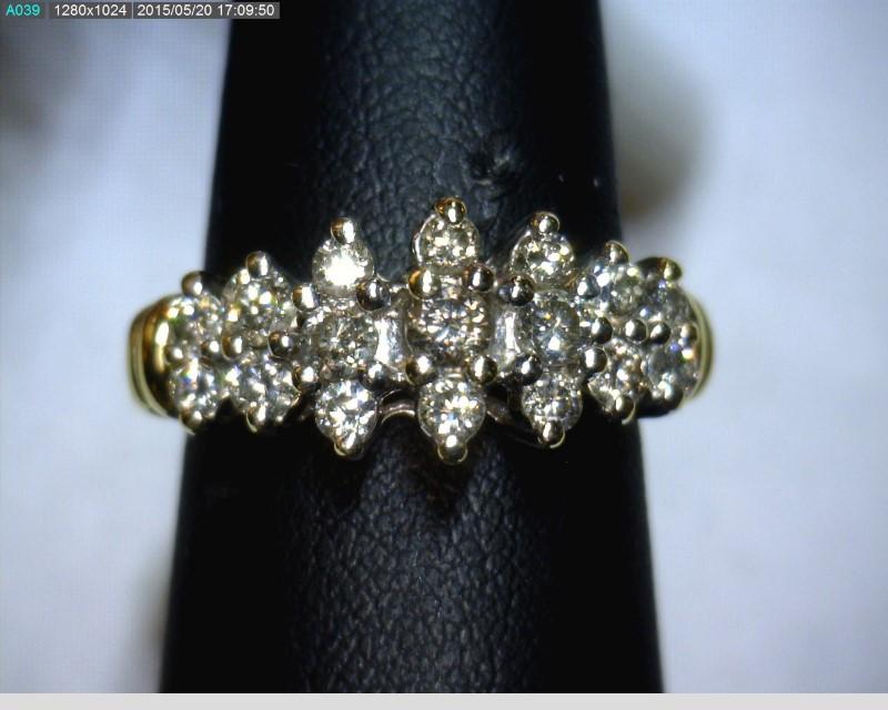 Lady's Diamond Cluster Ring 17 Diamonds .65 Carat T.W. 14K Yellow Gold 3.6dwt