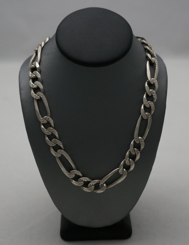"""20"""" 2-Sided Silver Figaro Chain 925 Silver 36.9dwt"""