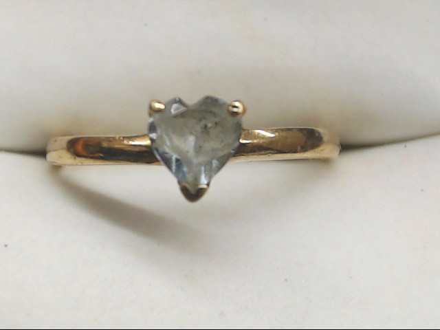 Green Stone Lady's Stone Ring 10K Yellow Gold 1.5g Size:6.5