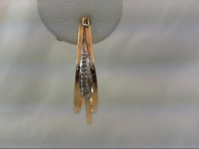 Gold-Diamond Earrings 8 Diamonds .08 Carat T.W. 14K 2 Tone Gold 3.4g