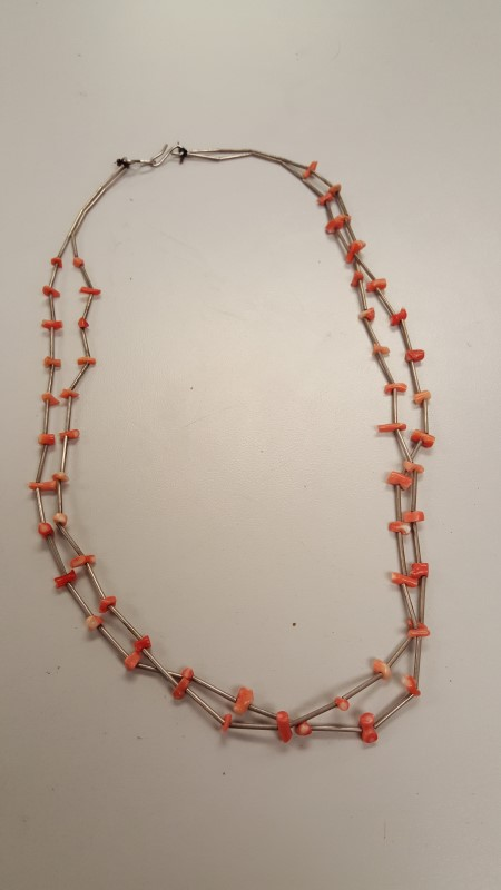 Synthetic Coral Silver-Stone Misc. 925 Silver 20.8g