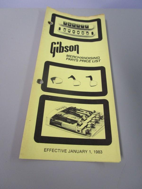 1983 GIBSON GUITARS MERCHANDISING PARTS PRICE LIST BROCHURE,  JANUARY 1, 1983