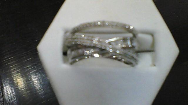 Lady's Silver-Diamond Ring 86 Diamonds 1.06 Carat T.W. 925 Silver 5g