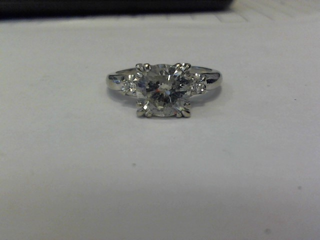 Synthetic White Stone Lady's Stone Ring 14K White Gold 2dwt