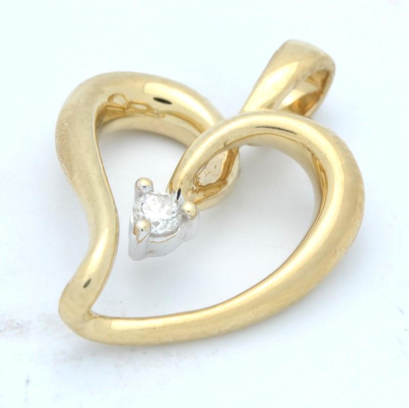 ESTATE DIAMOND HEART PENDANT CHARM SOLID 10K GOLD OPEN LOVE PROMISE