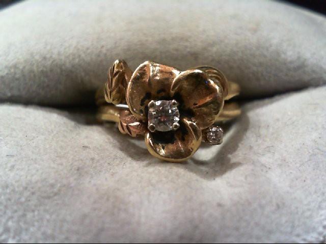 Lady's Diamond Wedding Set 2 Diamonds .13 Carat T.W. 14K Yellow Gold 4.4g