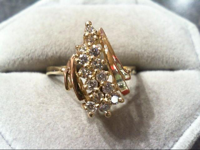 Lady's Diamond Cluster Ring 13 Diamonds .44 Carat T.W. 14K Yellow Gold 3.7g