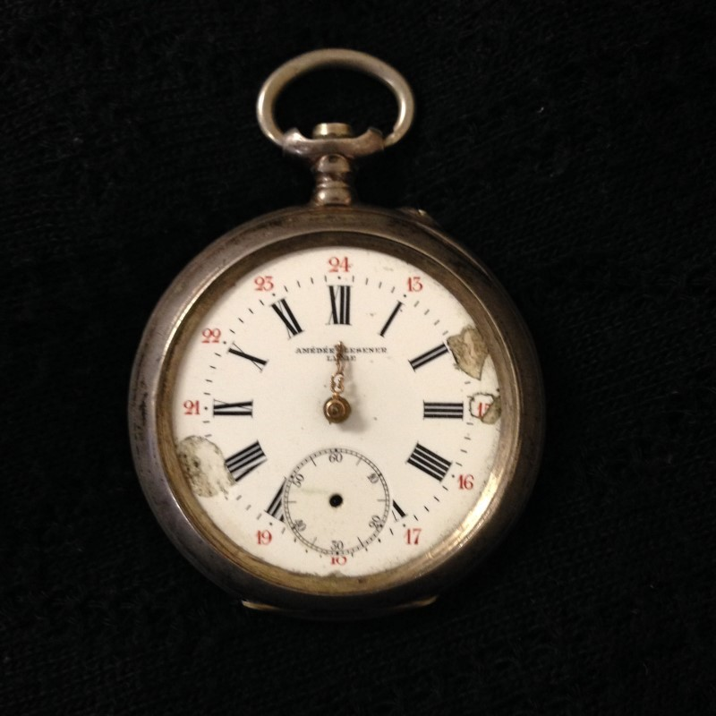 AMEDEE GLESENER LIEGE MEDAILLE D'OR POCKETWATCH 1902  NO GLASS FACE, NOT WORKING