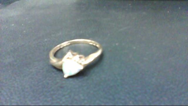 Synthetic Opal Lady's Stone & Diamond Ring 3 Diamonds .006 Carat T.W.