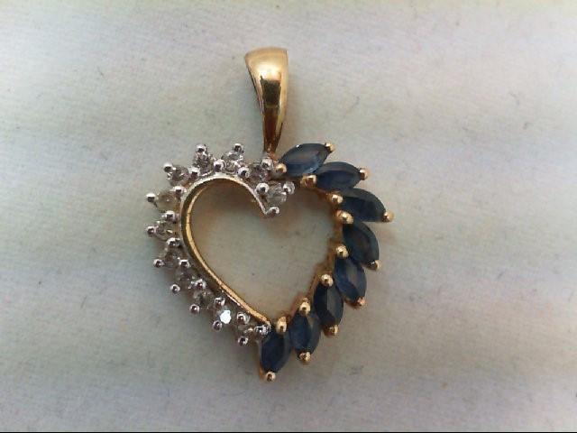 Sapphire Gold-Diamond & Stone Pendant 12 Diamonds .12 Carat T.W.