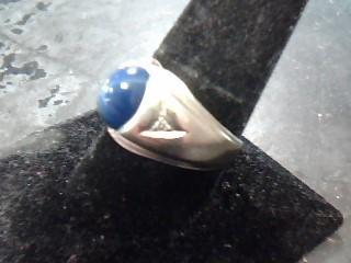 Synthetic Star Sapphire Gent's Stone & Diamond Ring 2 Diamonds .04 Carat T.W.