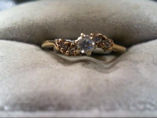 Lady's Diamond Engagement Ring 5 Diamonds .14 Carat T.W. 14K Yellow Gold 1.9g