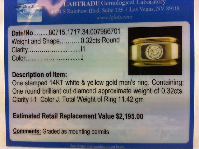 Gent's Gold-Diamond Wedding Band .32 CT. 14K 2 Tone Gold 11.42g