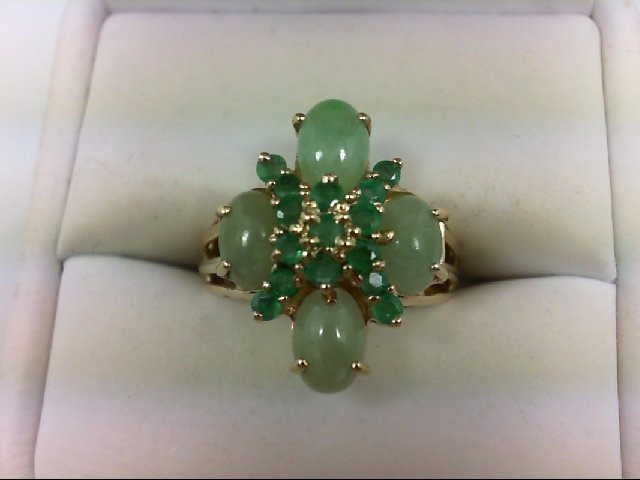 Jade Lady's Stone Ring 14K Yellow Gold 4.1g