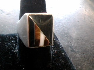 Black Stone Gent's Silver & Stone Ring 925 Silver 8.4dwt Size:11