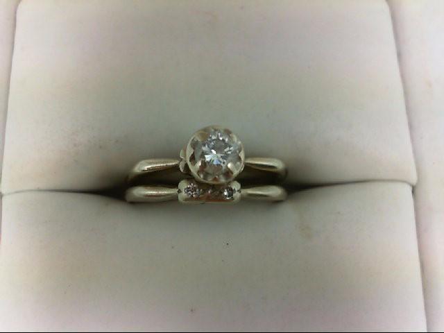 Lady's Diamond Wedding Set 3 Diamonds 0.22 Carat T.W. 14K White Gold 3.4g Size:4