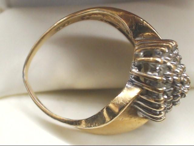 Lady's Diamond Cluster Ring 67 Diamonds .67 Carat T.W. 10K Yellow Gold 6g