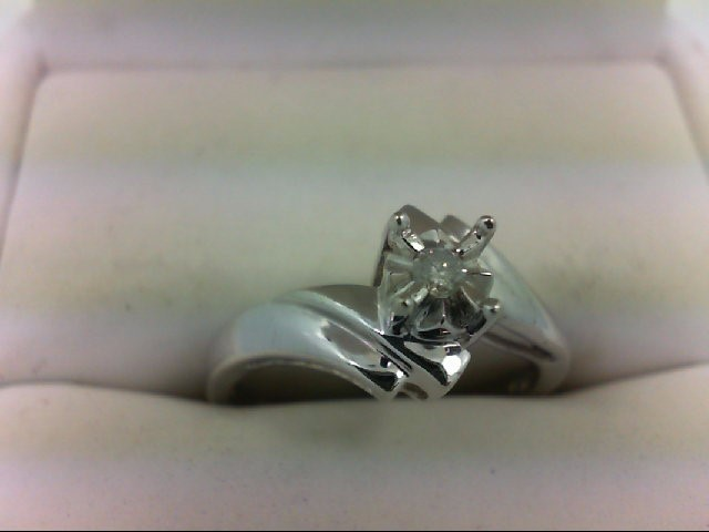 Lady's Diamond Engagement Ring 0.05 CT. 10K White Gold 2.2g