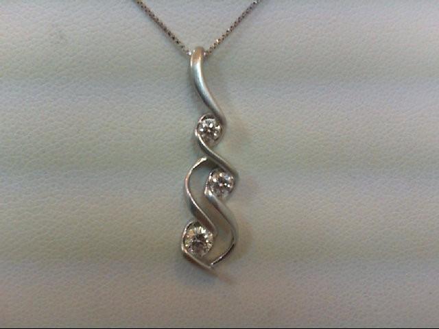 Gold-Multi-Diamond Pendant 3 Diamonds .30 Carat T.W. 14K White Gold 3g