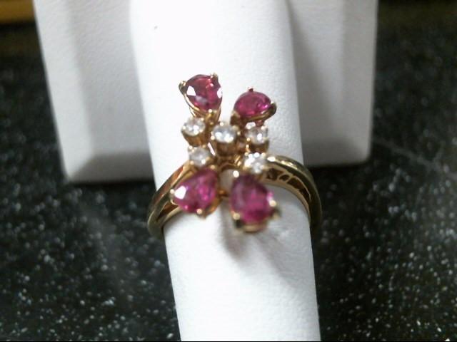 Synthetic Ruby Lady's Stone & Diamond Ring 5 Diamonds .15 Carat T.W.