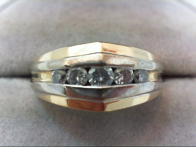 Gent's Gold-Diamond Wedding Band 5 Diamonds .50 Carat T.W. 14K 2 Tone Gold