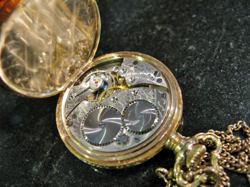 WALTHAM Model 1907 Pocket Watch 14K Solidarity Full Hunter Case, 10K Watch Fob