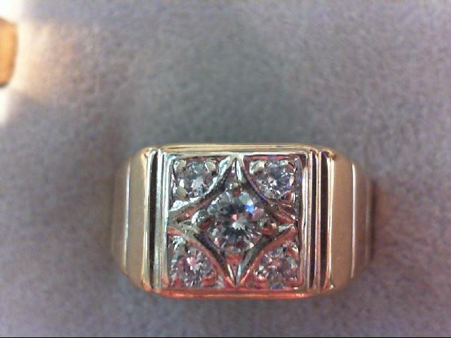 Gent's Diamond Fashion Ring 5 Diamonds .40 Carat T.W. 14K Yellow Gold 6.6g