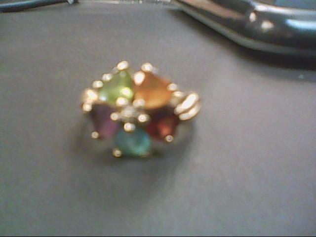 Synthetic Peridot Lady's Stone & Diamond Ring .01 CT. 10K Yellow Gold 4.6g