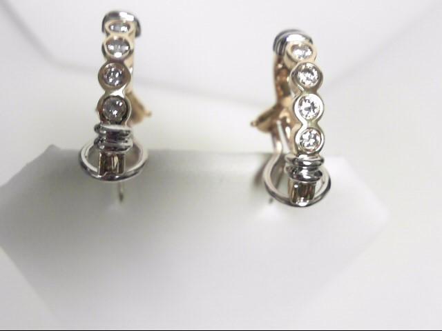 Diamond Hoop Earrings 8 Diamonds .48 Carat T.W. 14K 2 Tone Gold 7.1g