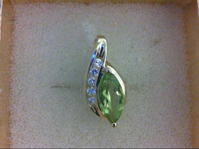 Peridot Gold-Stone Pendant 10K Yellow Gold 1.5g