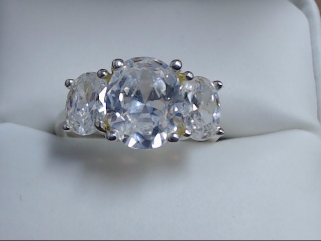 White Stone Lady's Silver & Stone Ring 925 Silver 4.4g Size:7.5
