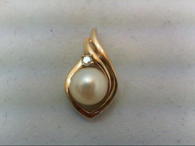 Pearl Gold-Diamond & Stone Pendant .03 CT. 14K Yellow Gold 2.1g
