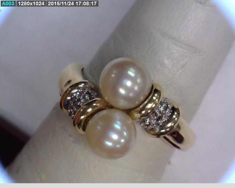 Pearl Lady's Stone & Diamond Ring 6 Diamonds .06 Carat T.W. 14K Yellow Gold