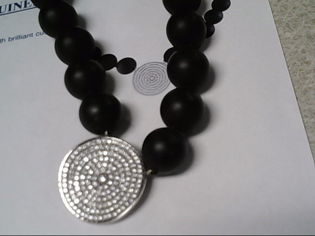 Matt Onyx & Diamond Necklace 172 Diamonds 1.72 Carat T.W. 18K White Gold 26g
