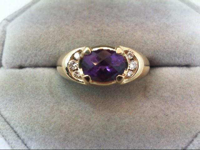Amethyst Lady's Stone & Diamond Ring 6 Diamonds .16 Carat T.W. 14K Yellow Gold
